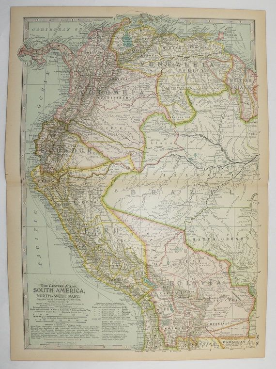 Columbia Mexico Map.Vintage Nw South America Map 1899 Old Travel Map Columbia Venezuela