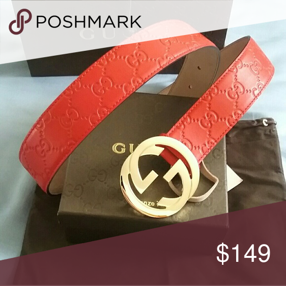 f50bc9b0bbb 💗Authentic Gucci Red Guccissima Belt Gold Buckle New Red Guccissima Gucci  Belt with Gold Buckle