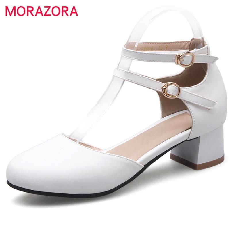 a45cbe2d4367  Visit to Buy  MORAZORA Med heels shoes 4cm round toe buckle soft leather  fashion