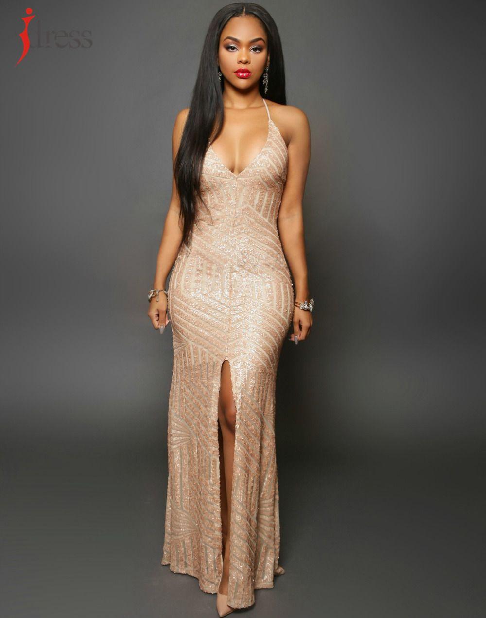4c98d8bba7e20 IDress Long Sequin Dress Backless Women Maxi Evening Party Dress ...