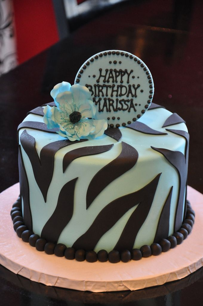 Blue And Black Zebra Cakes Blue Birthday Cakes