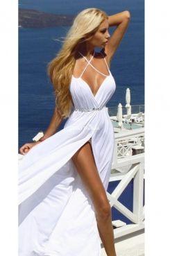 White #sexy A line Spaghetti straps #deep #V-neck long chiffon prom dress
