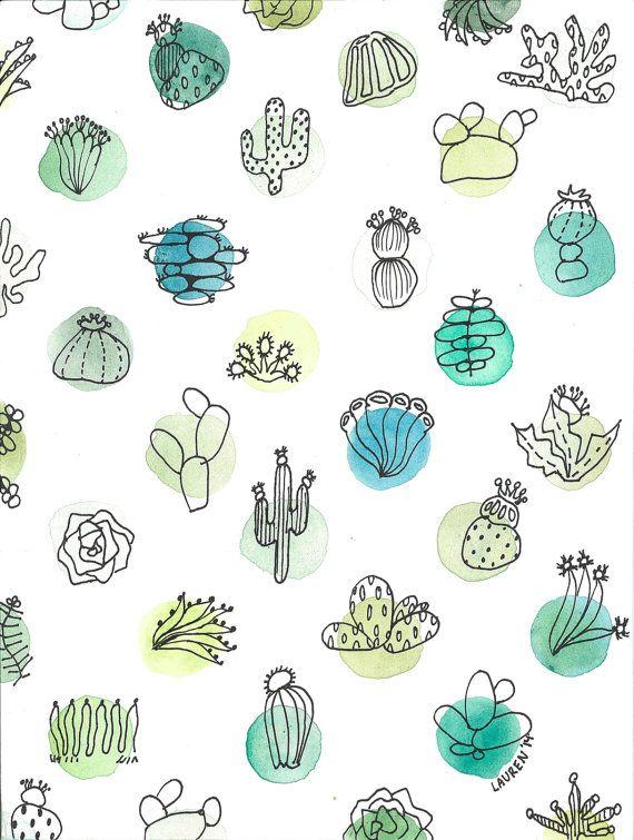 Cacti Social Watercolor Print Digital Fashion Drawing