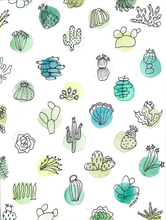 Cacti Social Watercolor Print Digital Fashion Drawing