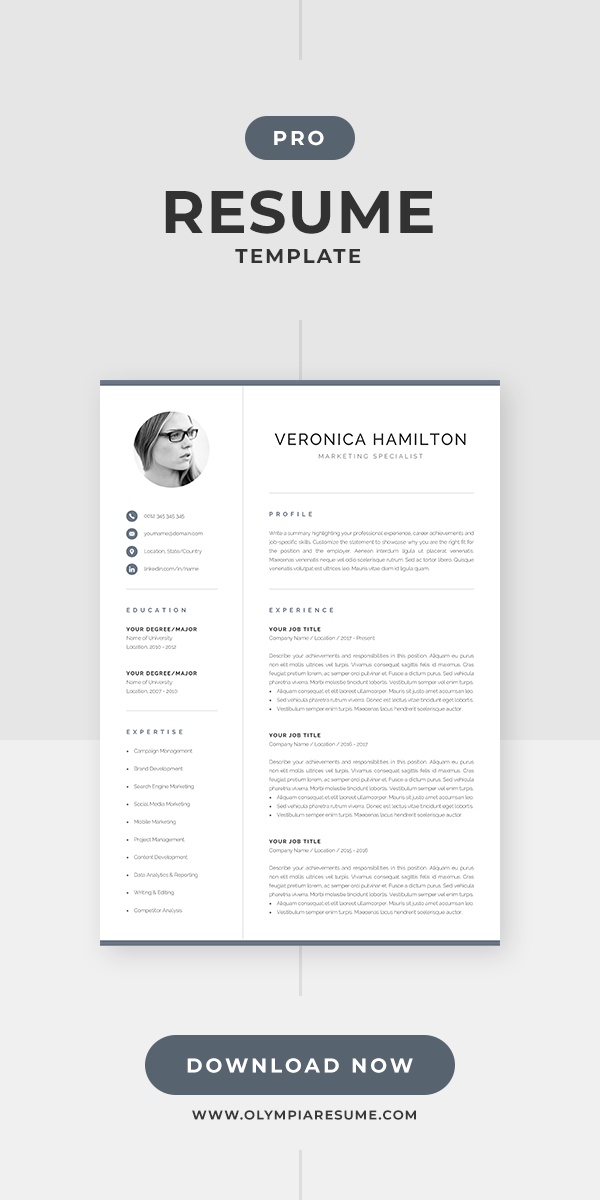 Professional Cv Template With Photo Modern Photo Resume Etsy Resume Template Professional Resume Template Modern Resume Template