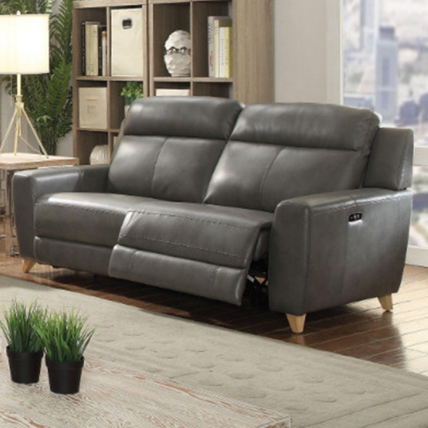 - Benzara Urbane Reclining Sofa Reclining Sofa, Genuine Leather