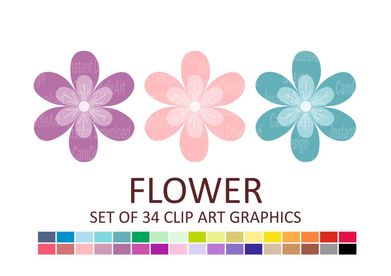 Flower Clipart, Bloom Clipart, Floral Clipart, Digital Clip Art, Cardmaking…