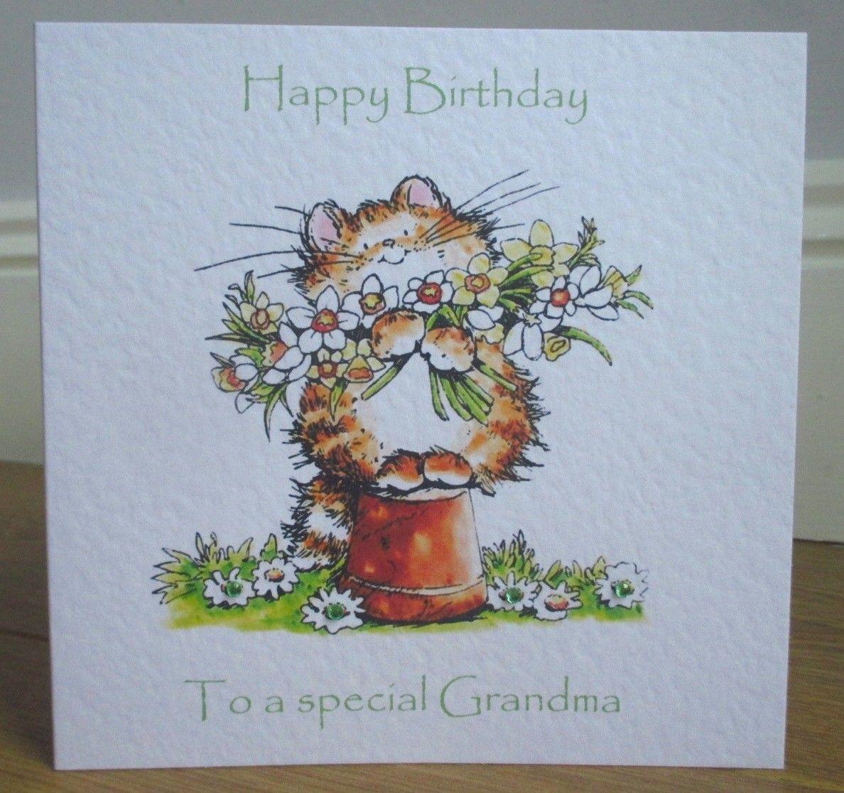 Personalised handmade daffodil cat birthday card grandma mum