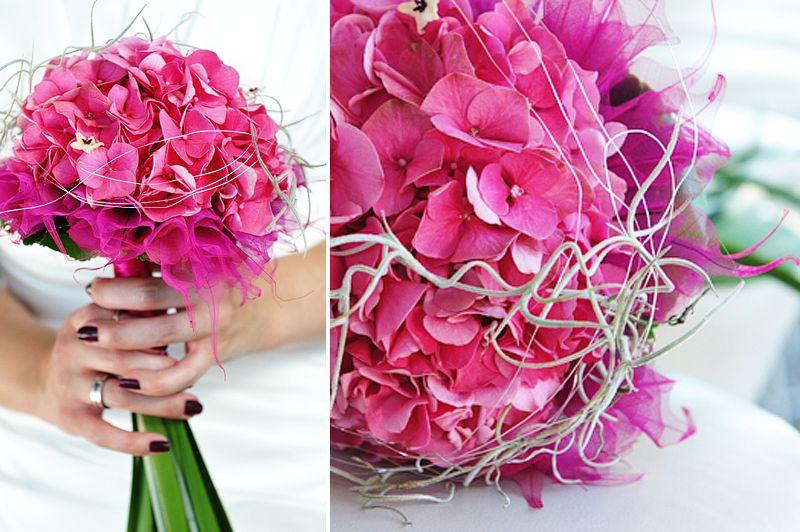 Brautstrau mit Hortensien aber nicht in Pink und vielleicht zu steif  Fuchsia hot pink in