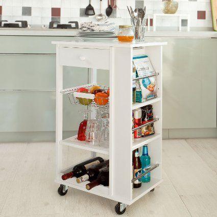SoBuy Carrito de servir, carrito de cocina, blanco, FKW12-W,ES ...