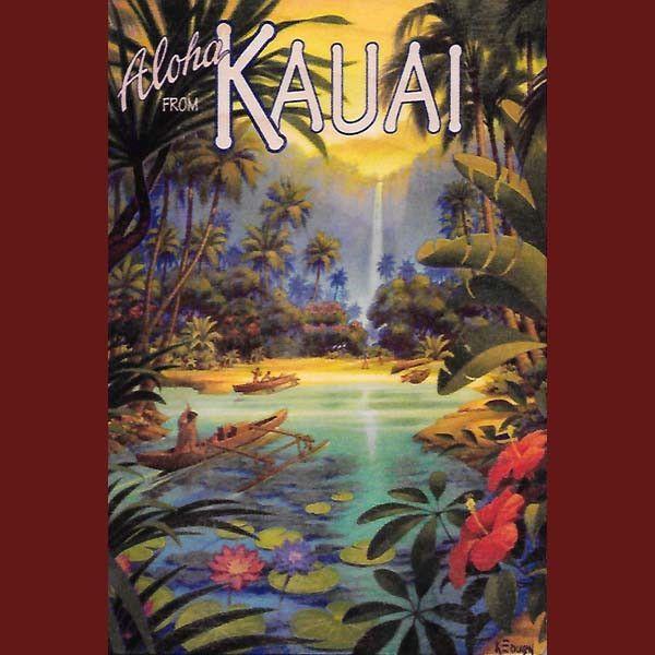Wooden Kauai Postcard Kauai Waterfall By Hawaiian Woody S