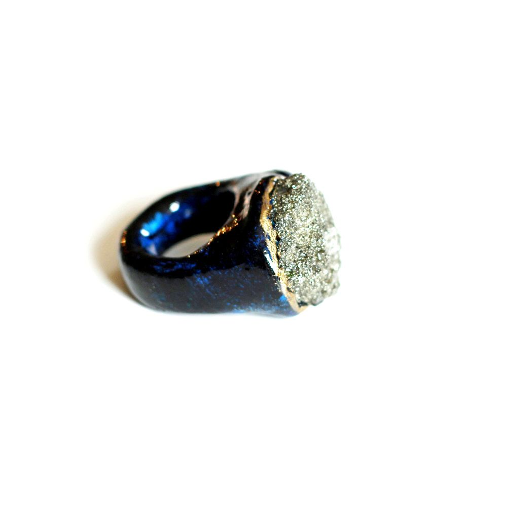 Raw Pyrite Small Mineral Ring