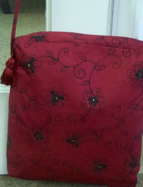 Red with Embroidered Black Flowers Bag by OdysseyandYve on Etsy, $28.00