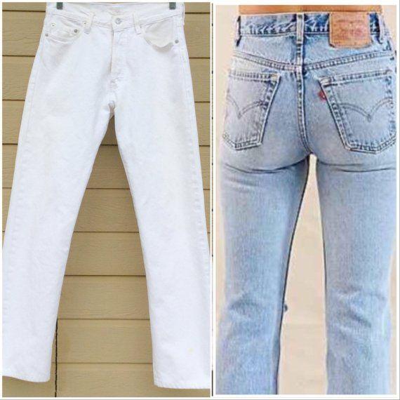 23f2a42c Vintage Levi's 501// Boyfriend Jeans//31 x 32 // Vintage 80s Levis// White  Denim// Men's// women's/