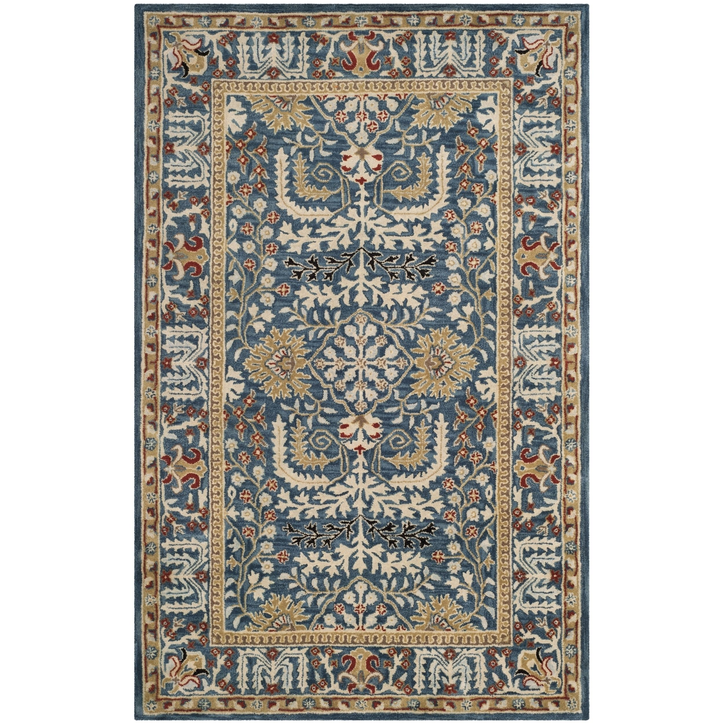 Safavieh Antiquity Traditional Handmade Dark Blue Multi Wool Rug 4 X 6