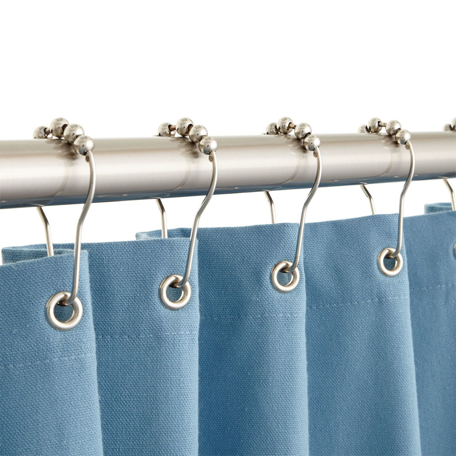 32 Round Solid Br Shower Curtain Rod Bathroom Curtains With Rings