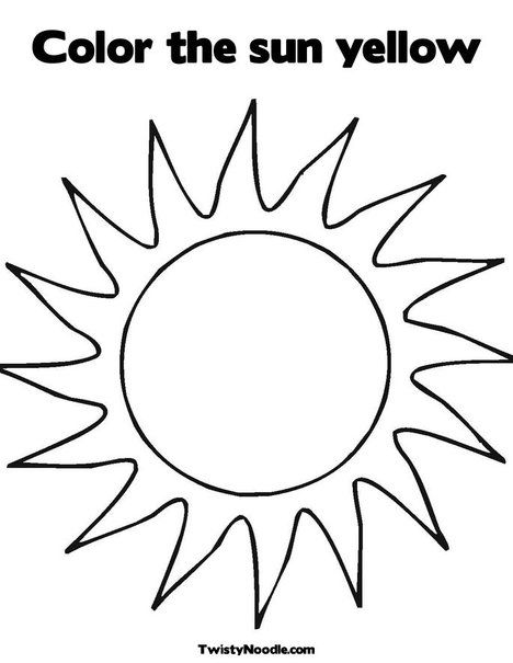 Color The Sun Yellow Coloring Page Twisty Noodle