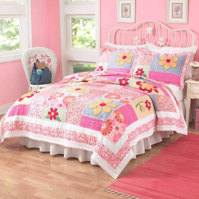 Pink & Purple Colorful Floral Flower Print Full/Queen Teen Girl Size Bedding Set #PemAmerica