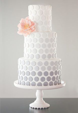 Grey Ombre Polka Dot Cake   Read more on http://onefabday.com/polka-dot-wedding-cakes/