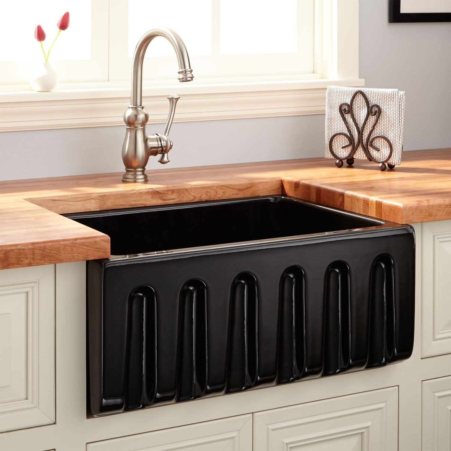 "24"" Adams Fireclay Reversible Farmhouse Sink Fluted Front"