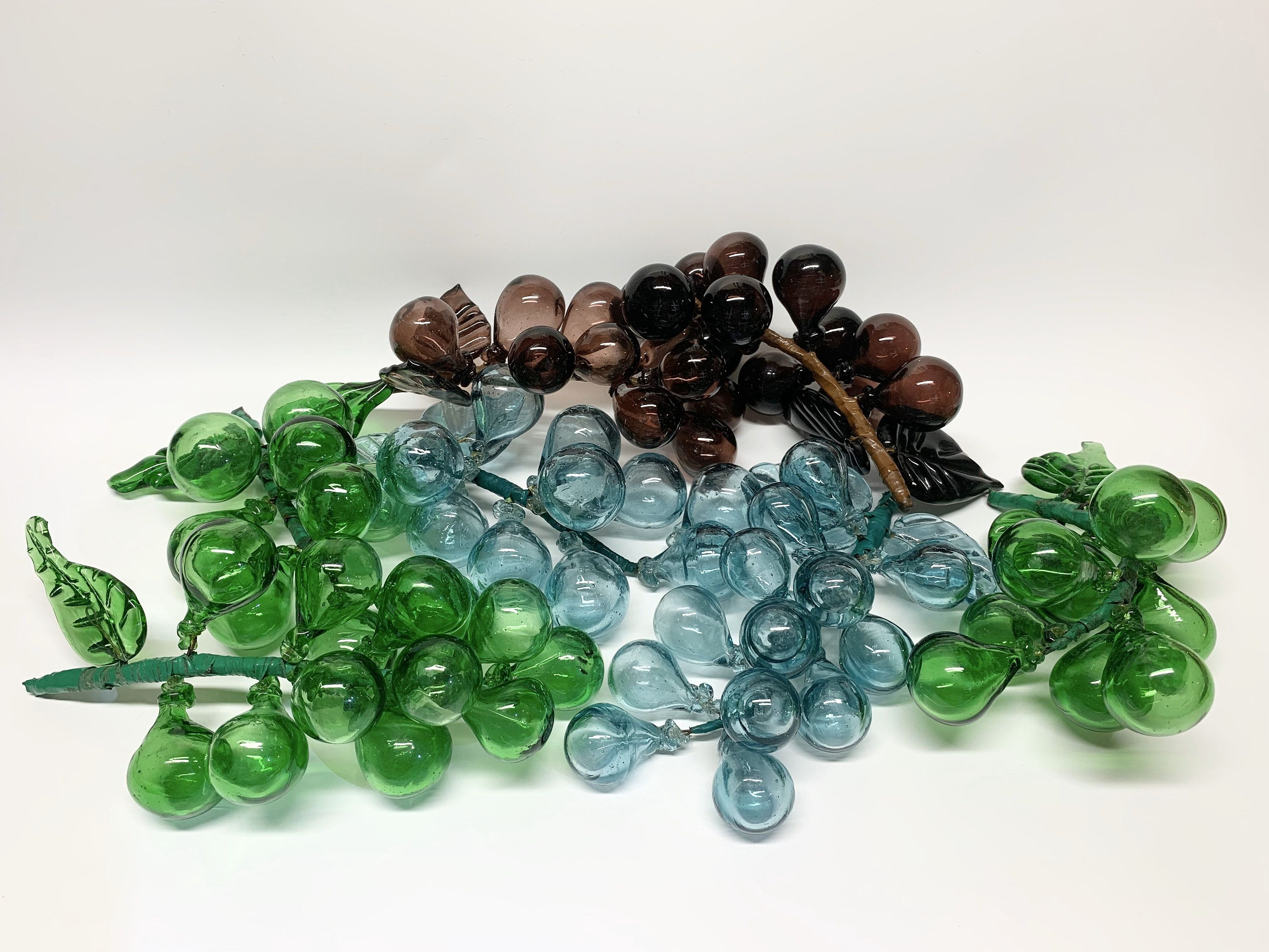 Large Hand Blown Grape Clusters Mid Century Murano Style Art Etsy Hand Blown Hand Blown Glass Glass Blowing