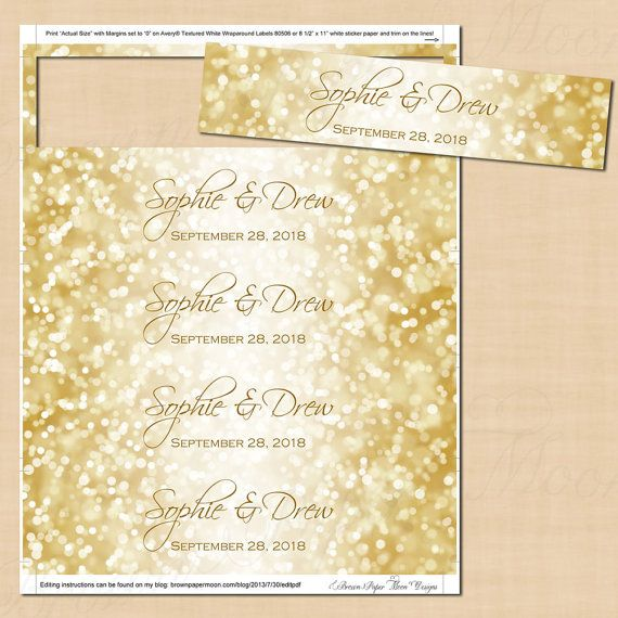 White Gold Sparkles Water Bottle Labels Text Editable Printable On Avery 80506 22838 Or 8