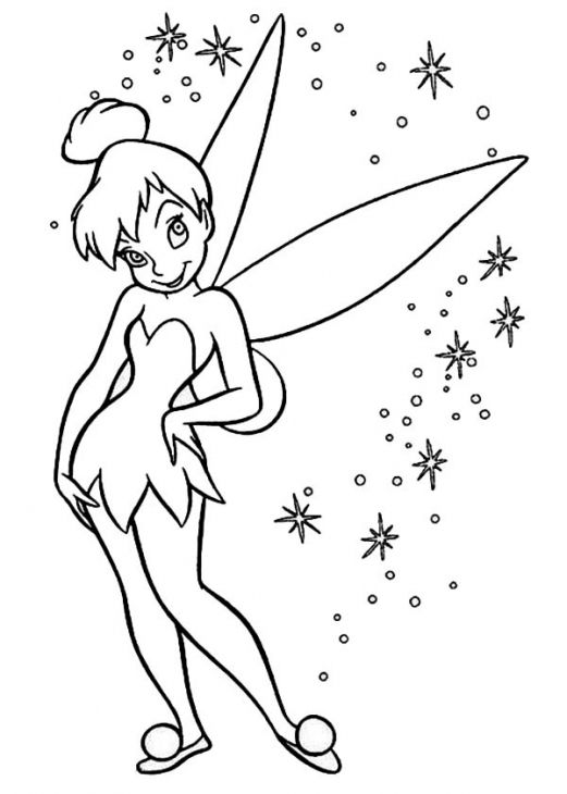 glowing pixie around tinkerbell coloring page