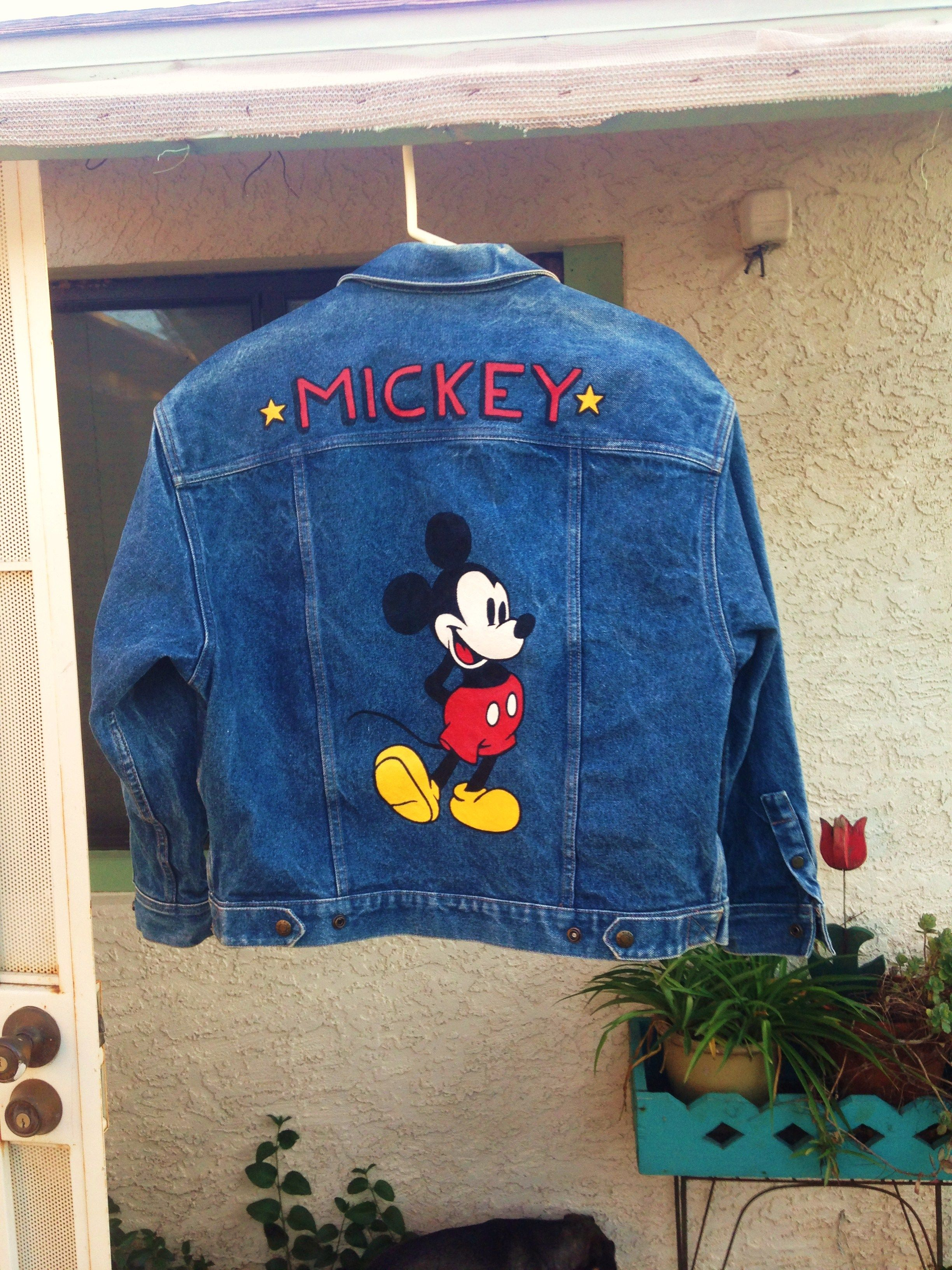 50ad75d9872 Mickey Mouse custom painted on denim jacket by  bleudoor on Instagram   disney