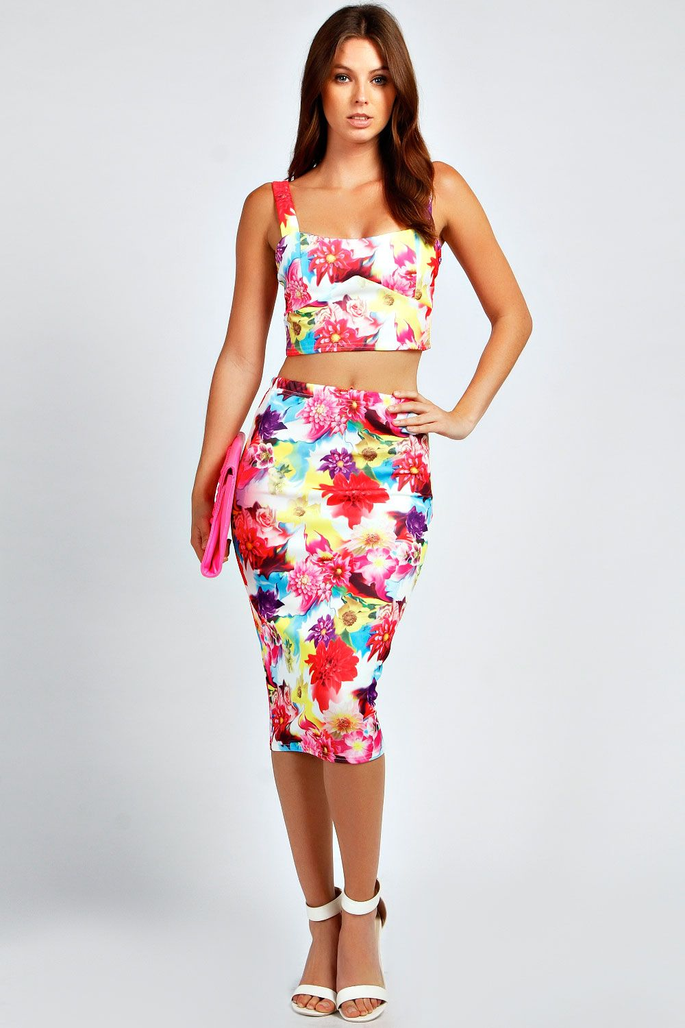 0c4da6de13f3 Eliza Floral Strappy Bralet & Midi Skirt Co-Ord Set at boohoo.com ...
