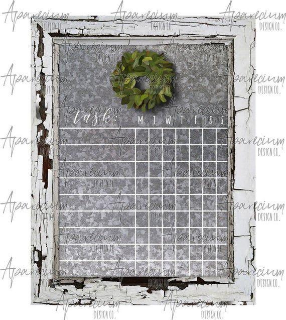 Photo of White Wooden Frame Corrugated Tin Farmhouse Magnolia Wreath Blank Chore Chart Dry Erase Board Sublimation Design Template