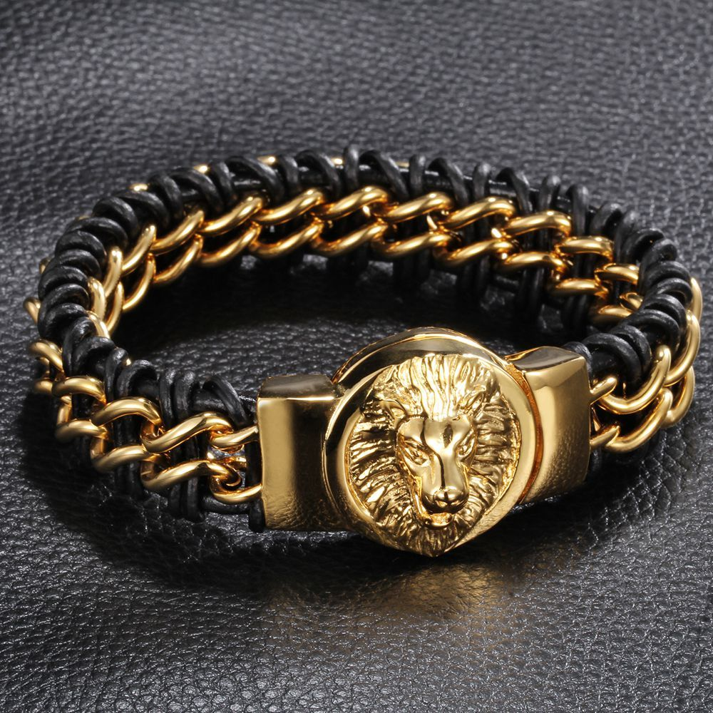 Leather and stainless steel lion head bracelet for punk men