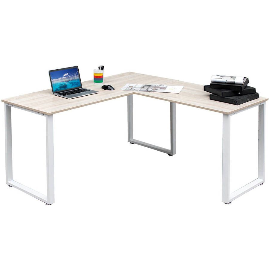 Merax 59 l shaped desk with metal legs office desk corner for Muebles para oficina walmart