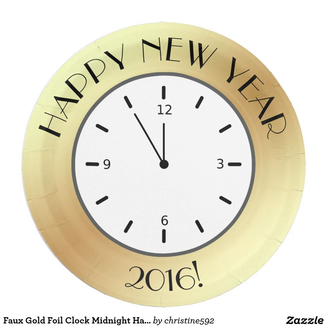 Sold 40. Faux Gold Foil Clock Midnight Happy New Year 9 Inch Paper Plate