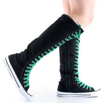 1e789490a21 Womens Canvas Sneaker Punk Flat Tall Lace Up Knee High Boot Skater Shoe Sz 5 -10