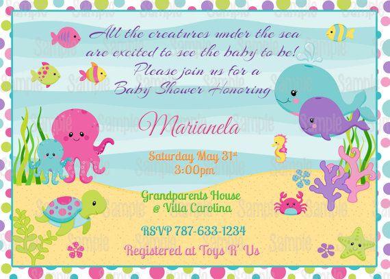 Printable Under The Sea Girl Baby Shower Invitation Plus