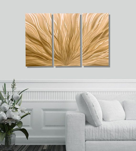 Light copper modern metal wall sculpture contemporary metal wall art abstract wall art decor set of 3 copper plumage by jon allen