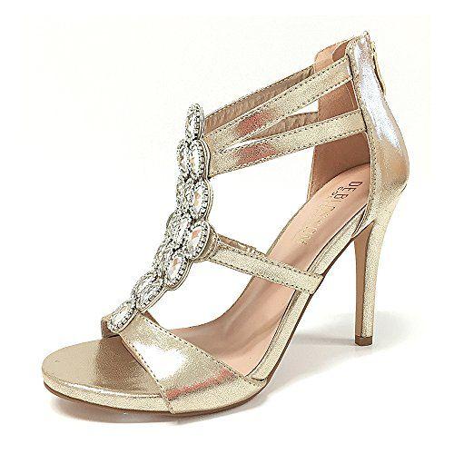 4fc33ade9133a Women Macy Crystal Embellished Vamp High Heel Wedding Prom Party Dress Sandal  Gold 7 --