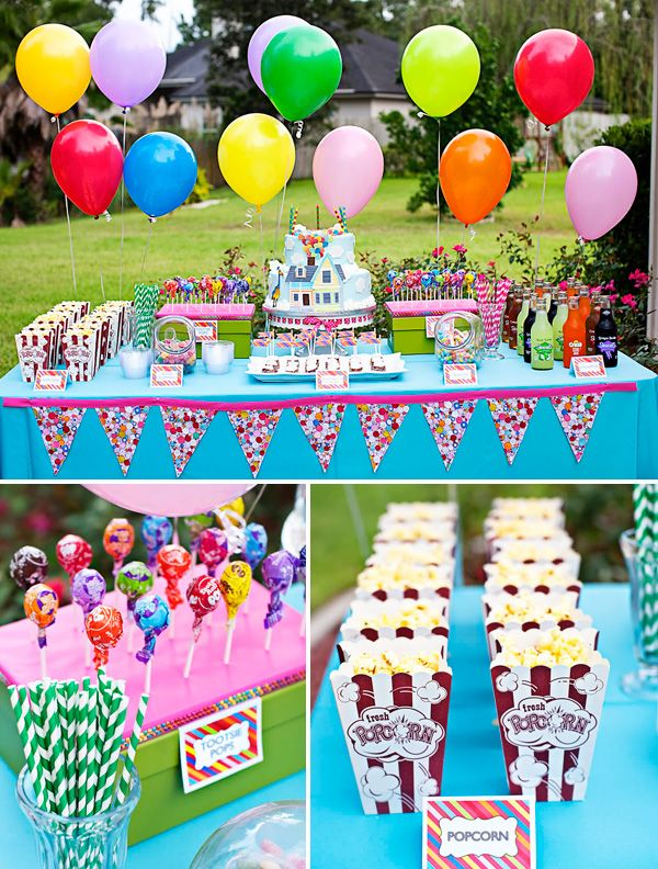 You can have lots of fun with children's parties.   Candy bars are a great thing to use and you can have alot of fun with decorations.  You can also have alot of fun with the cake.  Look at how colorful this party is!