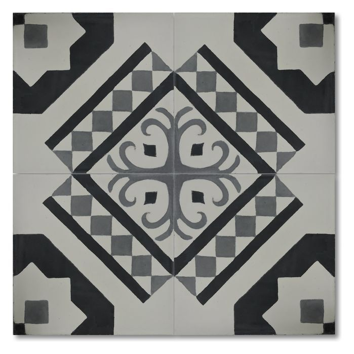 """Bouman 8"""" x 8"""" Handmade Cement Tile in Black and Gray"""
