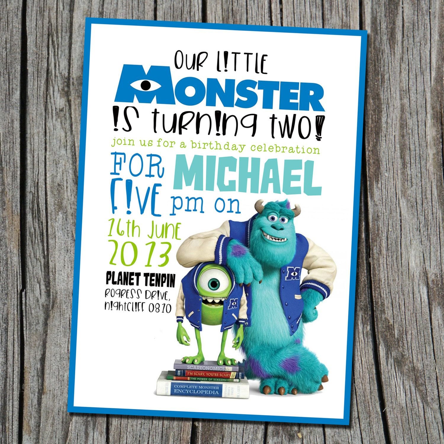 Monsters Inc. invitation ONLY Modern by EmbellisheDesigns on Etsy ...