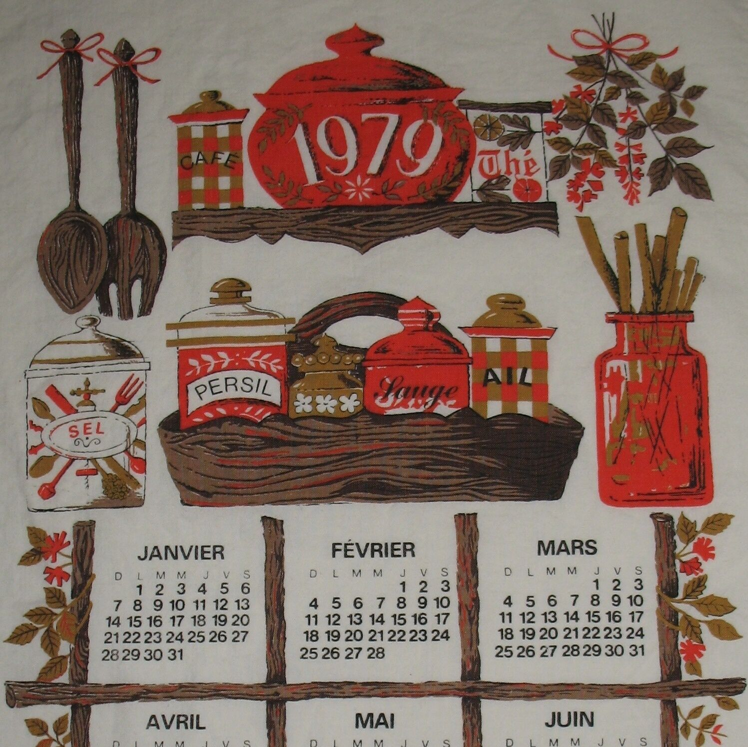 Vintage 1979 Calendar Tea Towel French Red And Brown Ebay