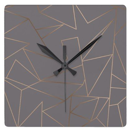 Faux Rose Gold Elegant Modern Minimalist Geometric Square Wall Clock    Stylish Gifts Unique Cool Diy