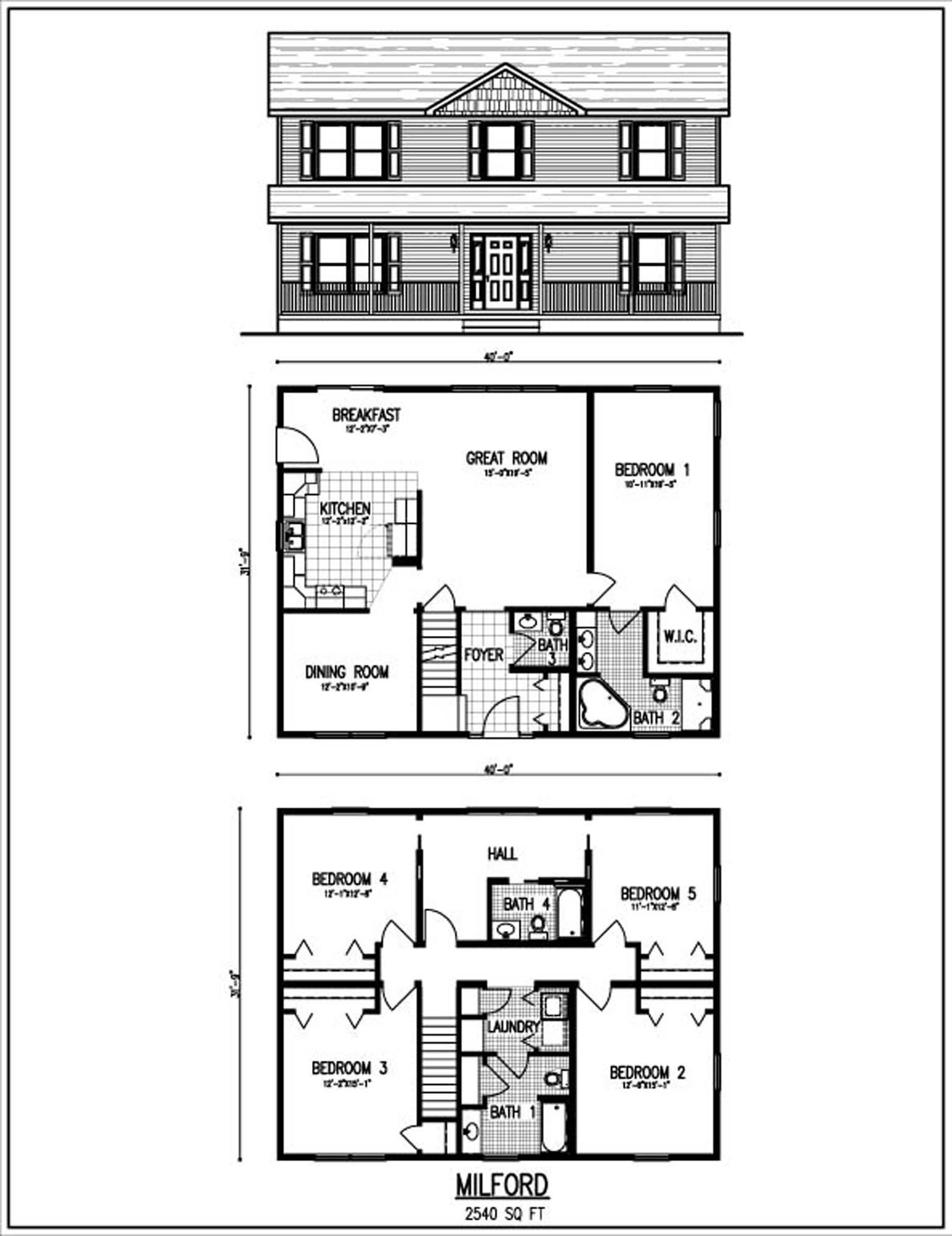 Beautiful 2 story house plans with upper level floor plan for Two story house plans