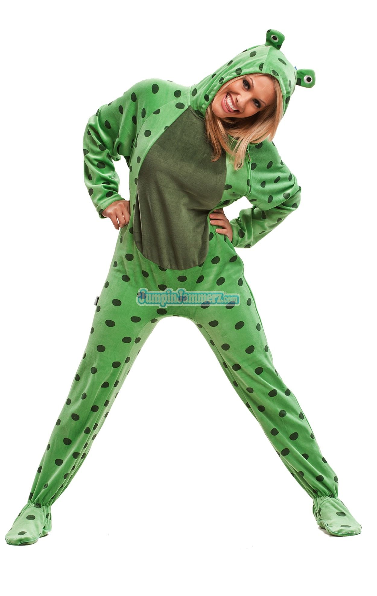 326f9d8eb Fuzzy FROG - Costumes - Pajamas Footie PJs Onesies One Piece Adult ...