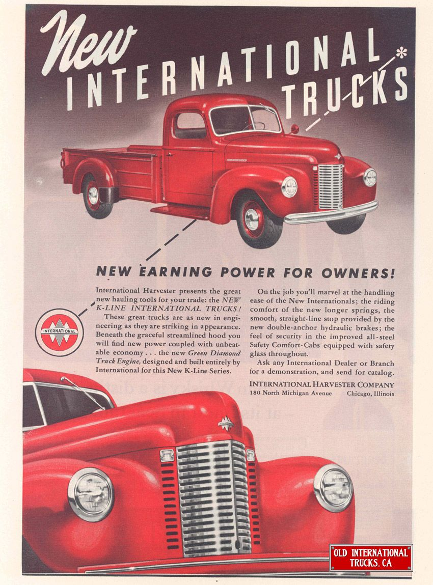 1941 New International K 1 Pick Up Old Advertising