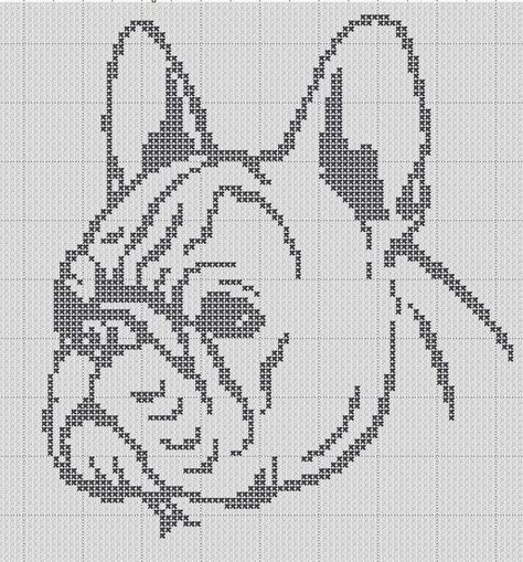 French Bulldog Silhouette Small Cross Stitch Pattern 1 Color Easy