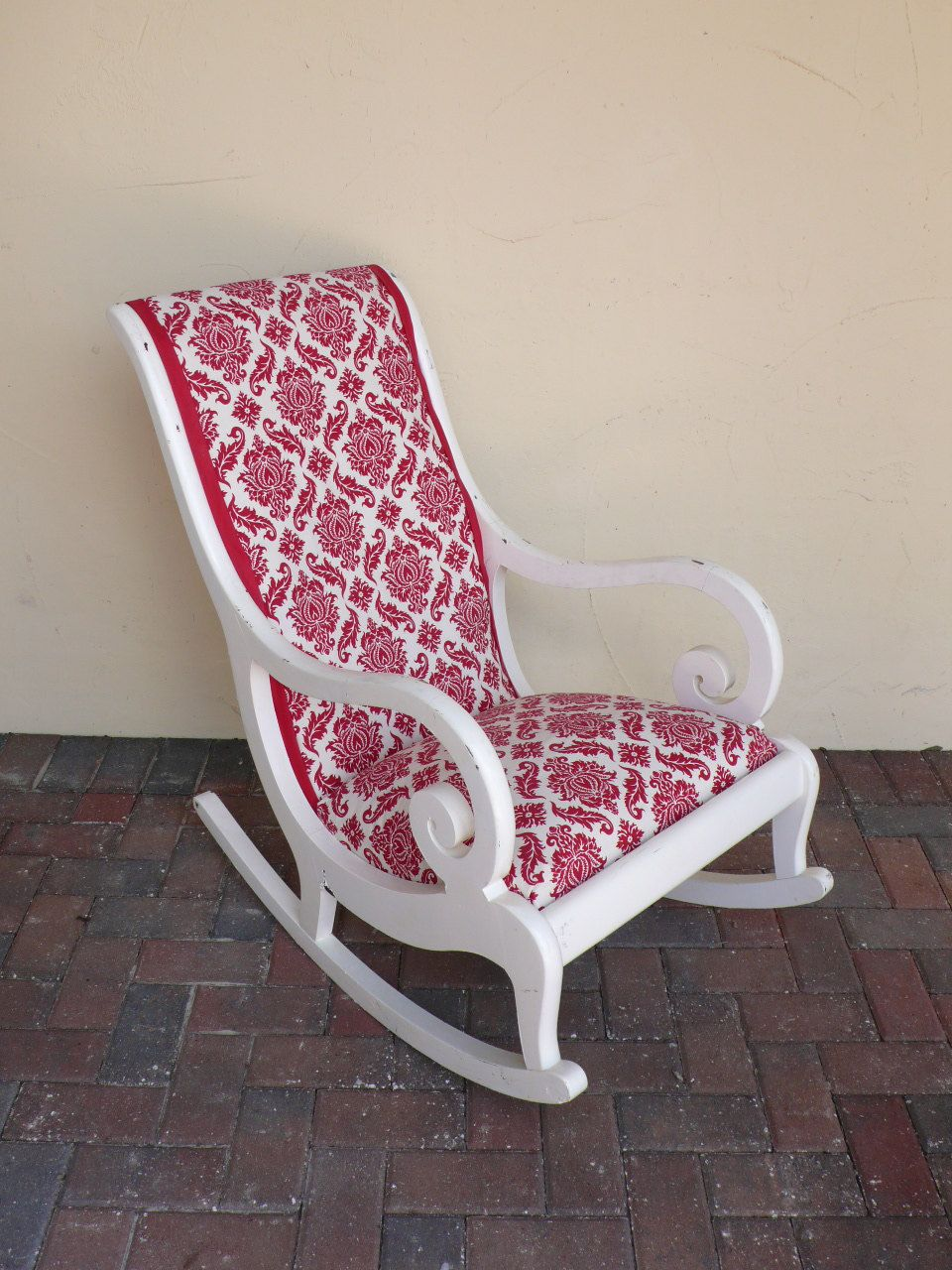 Vintage White Rocking Chair Wood frame - Shown with original ...