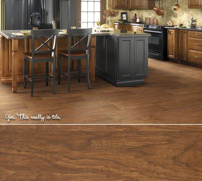 Shaw Floors Porcelain Tile In A Realistic Wood Look Petrified Hickory Color Ancient Can Be Installed Over Sureply Premium Plywood Underlayment