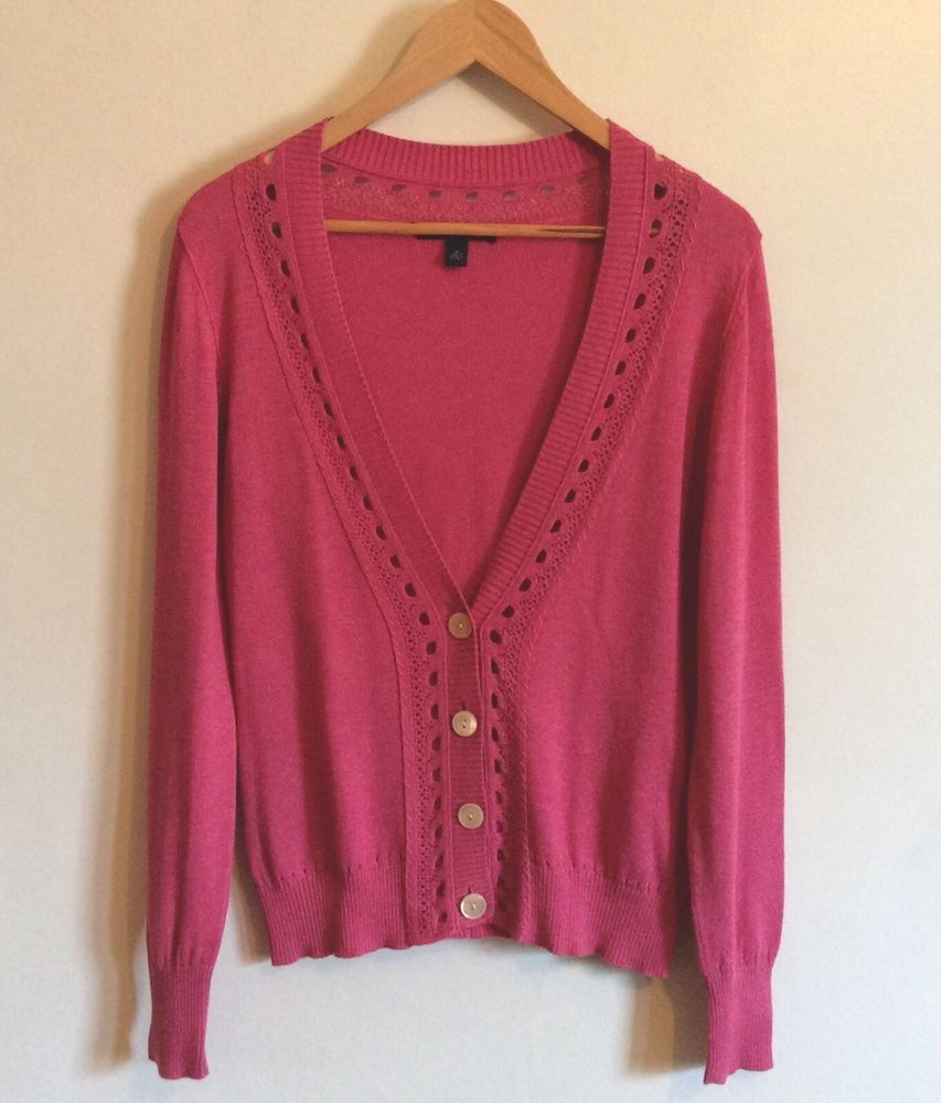 BANANA REPUBLIC Sweater Size M Cardigan Hot Pink Long Sleeve V ...