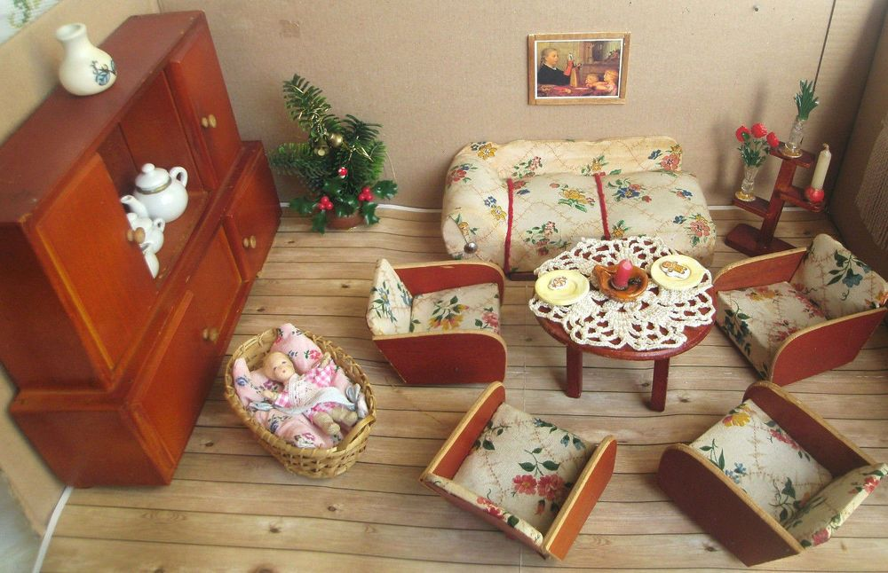 Puppenstube Wohnzimmer um 1940 Sessel Sofa Schrank Blumenständer - schrank für wohnzimmer